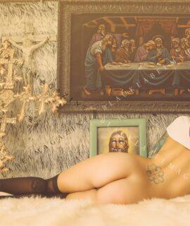 nude, nude art, sacreligious, sexy, nun, naked, Ivizia Dakini, nude women, black label magazine